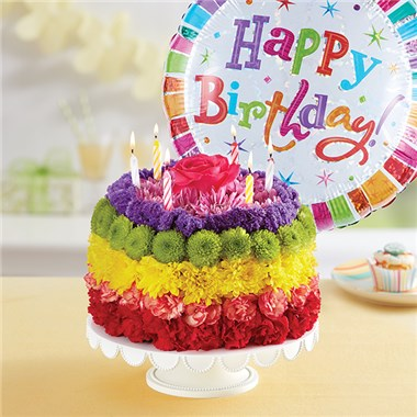 1 800 FlowersR Birthday Wishes Flower Cake TM Rainbow